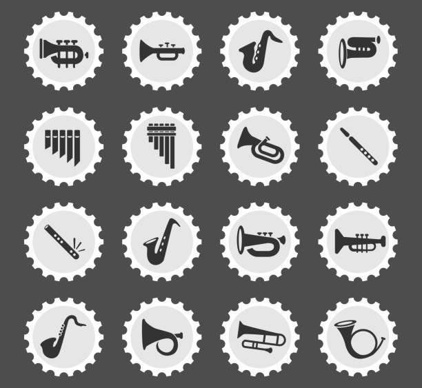wind instruments icon set - waltornista stock illustrations