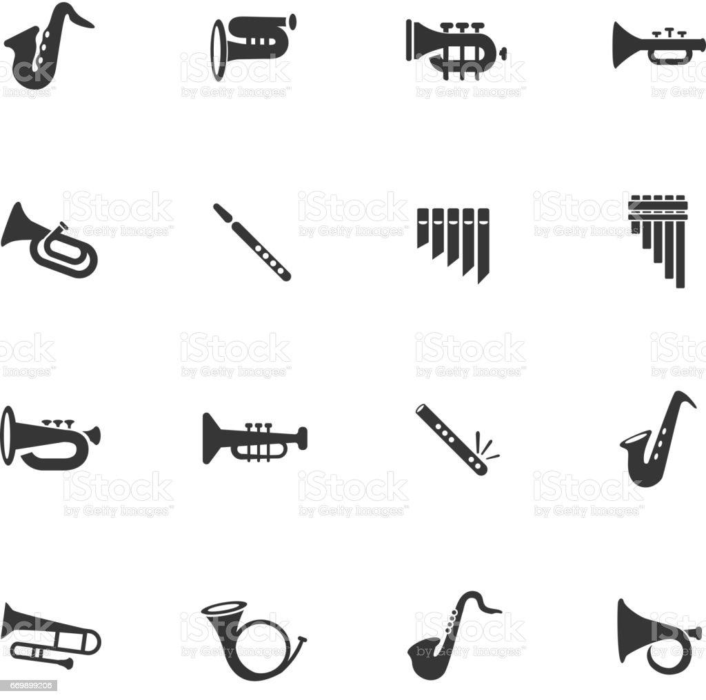 wind instruments icon set - Grafika wektorowa royalty-free (Bez ludzi)