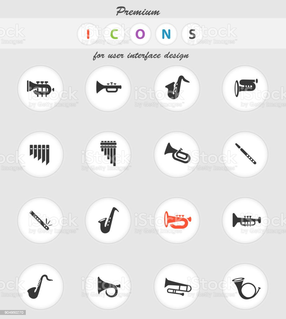 wind instruments icon set vector art illustration