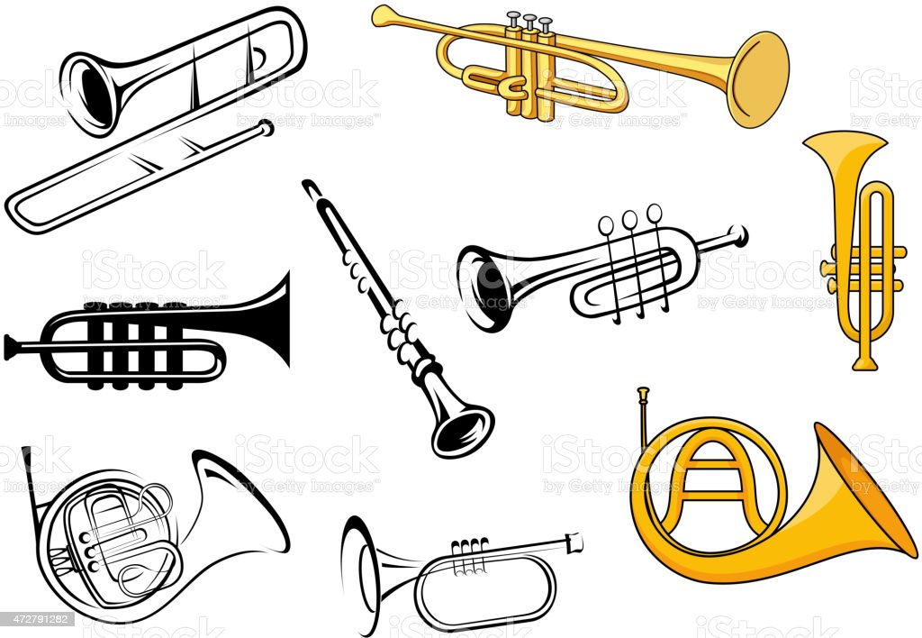 Wind instruments in sketch and cartoon style vector art illustration