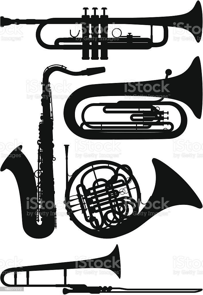 Wind Instruments royalty-free wind instruments stock vector art & more images of black and white