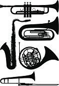 Trumpet, saxophone, tuba, French horn, and trombone silhouettes.