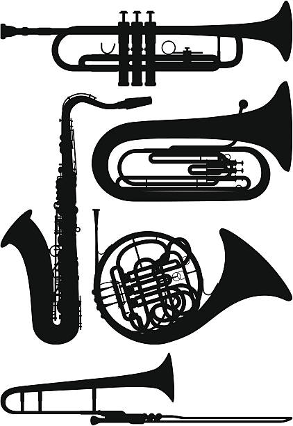 stockillustraties, clipart, cartoons en iconen met wind instruments - blaasinstrument