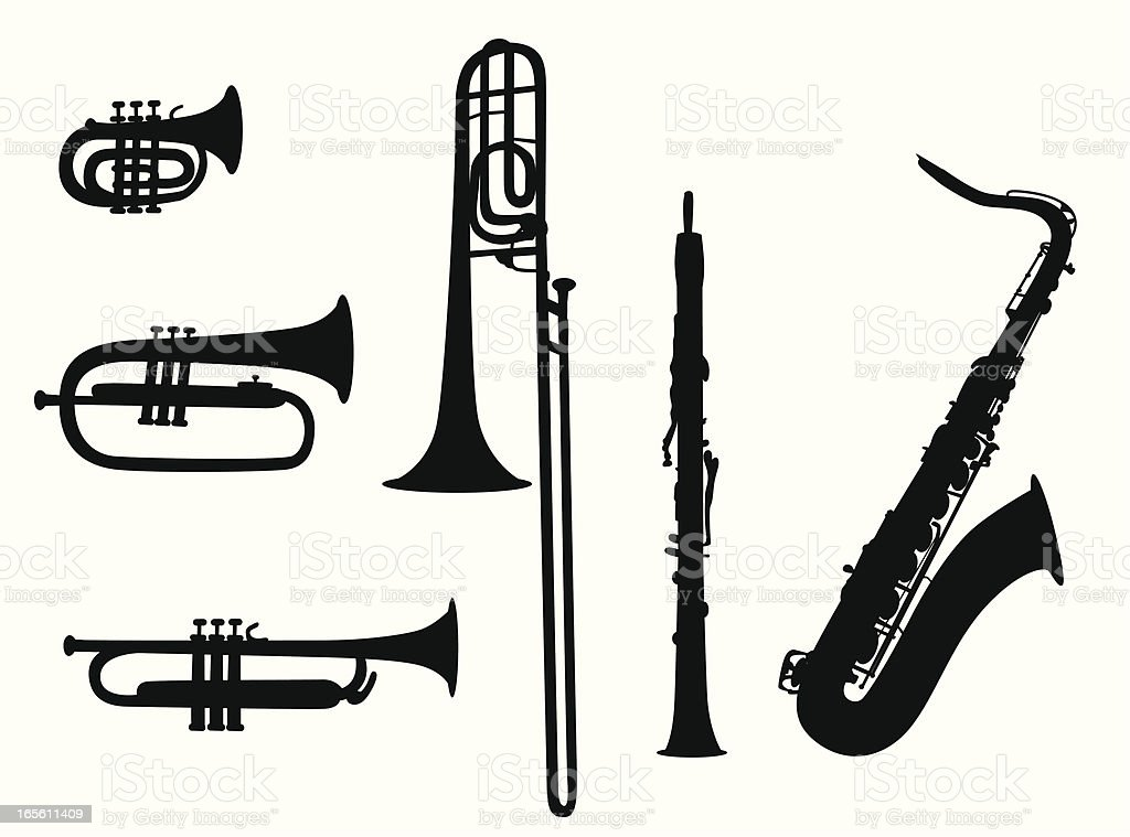 Wind Instruments Vector Silhouette royalty-free stock vector art