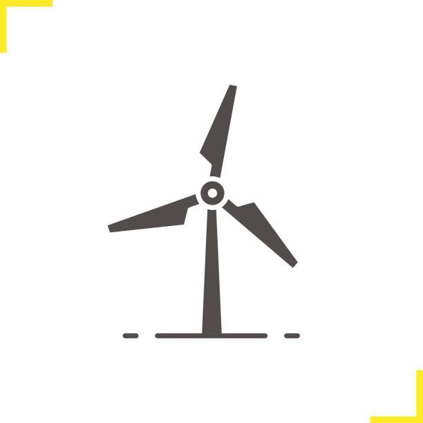 stockillustraties, clipart, cartoons en iconen met pictogram van de molen van de wind - windmolen
