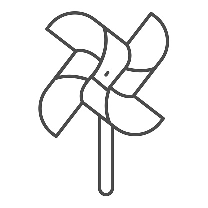Wind mill toy thin line icon, Playground concept, pinwheel sign on white background, Windmill icon in outline style for mobile concept and web design. Vector graphics.