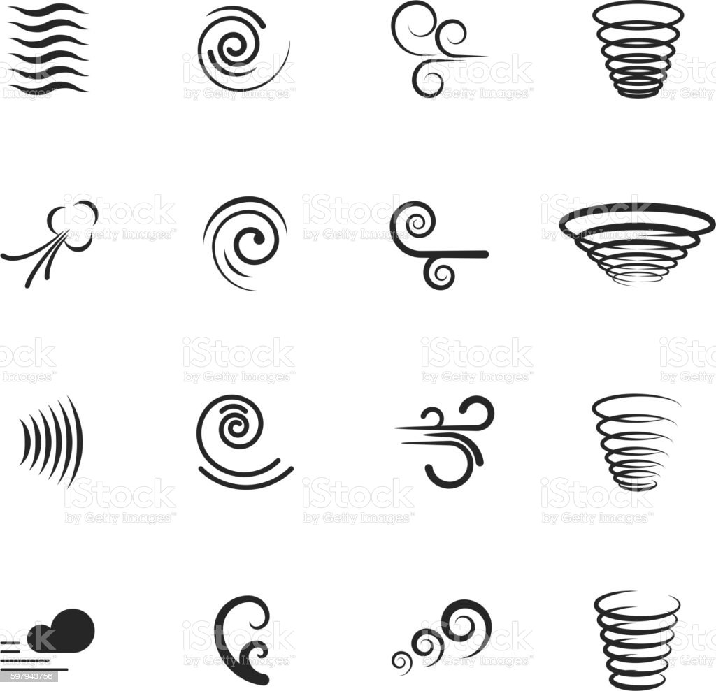 Wind, motion vector icons set
