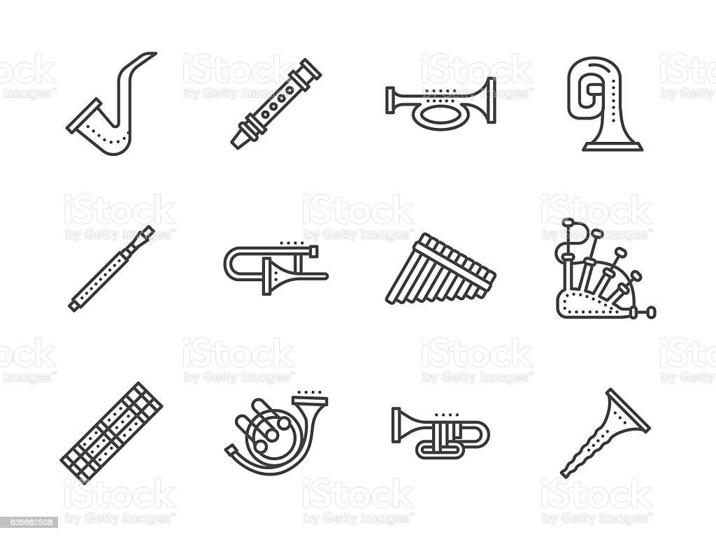 Wind musical instruments black line vector icons vector art illustration