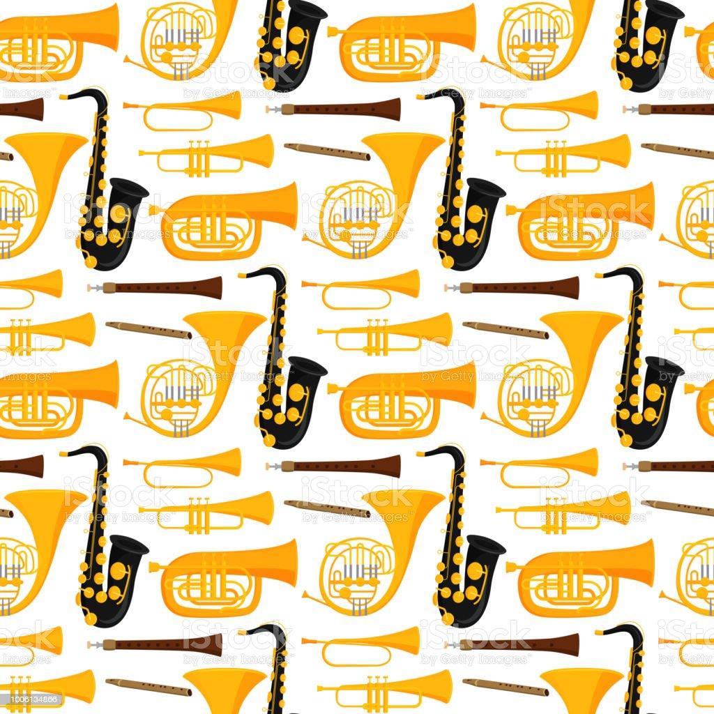 風楽器ツール音響の音楽家装置オーケストラのシームレスなパターン背景