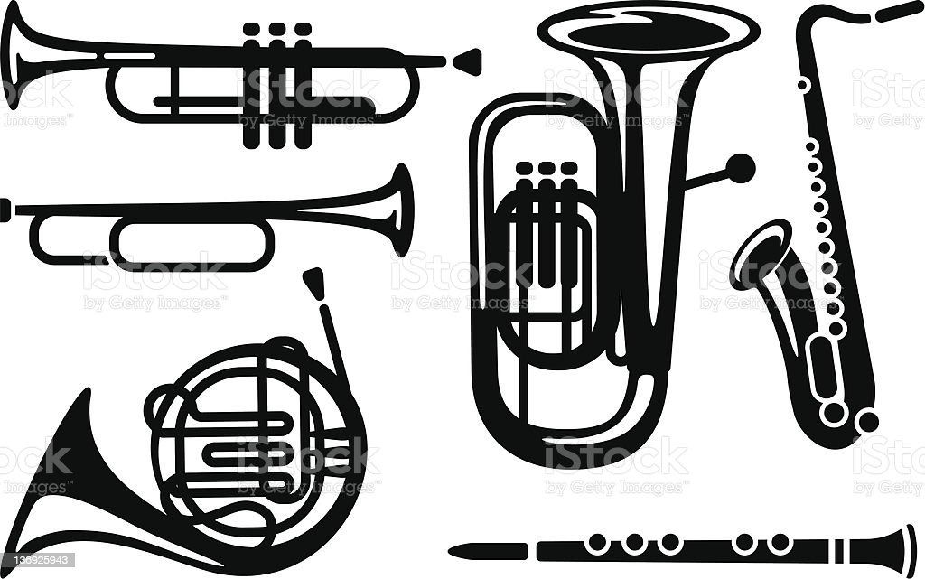 Wind musical instruments royalty-free stock vector art
