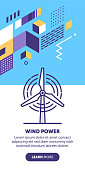 Wind power vector banner illustration also contains icon for the topic.