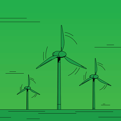 Wind power farm, three tall wind turbine generating renewable energy.