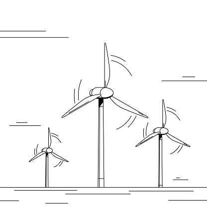 Wind power farm, three tall wind turbine generating renewable energy. Black and white illustration with minimalistic shading.
