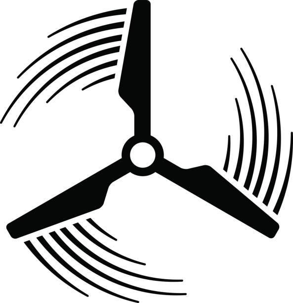 wind power plant propeller motion line symbol vector wind power plant propeller motion line symbol vector blade stock illustrations
