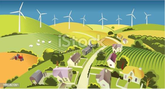 Wind Turbine Farm in the countryside