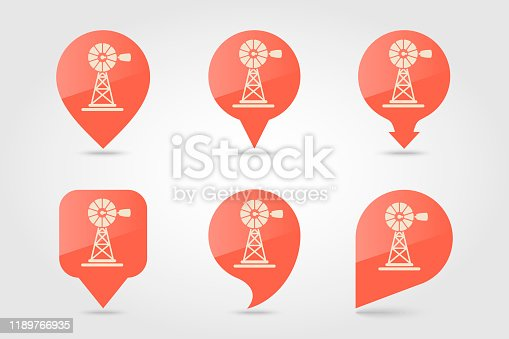 Wind pump flat vector pin map icon. Map pointer. Map markers. Agriculture sign. Graph symbol for your web site design, logo, app, UI