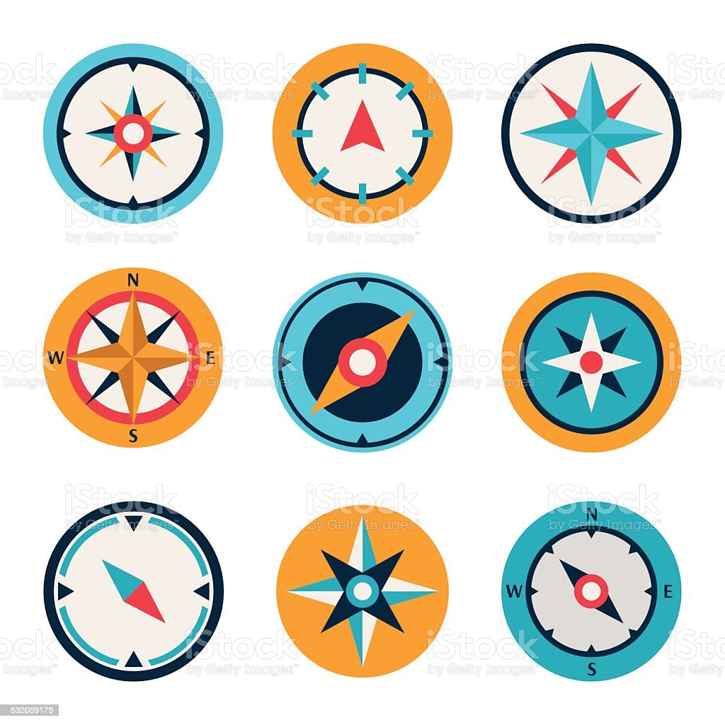 Wind rose compass flat vector symbols set vector art illustration