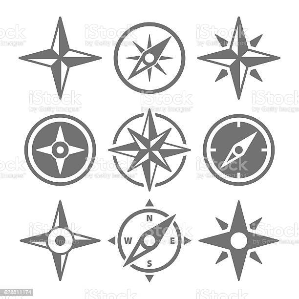 Wind rose compass navigation icons vector illustration vector id628811174?b=1&k=6&m=628811174&s=612x612&h=k2zuusrk1uqtlnbpr90vi4ybwuexj6bt6ru1ey cjya=