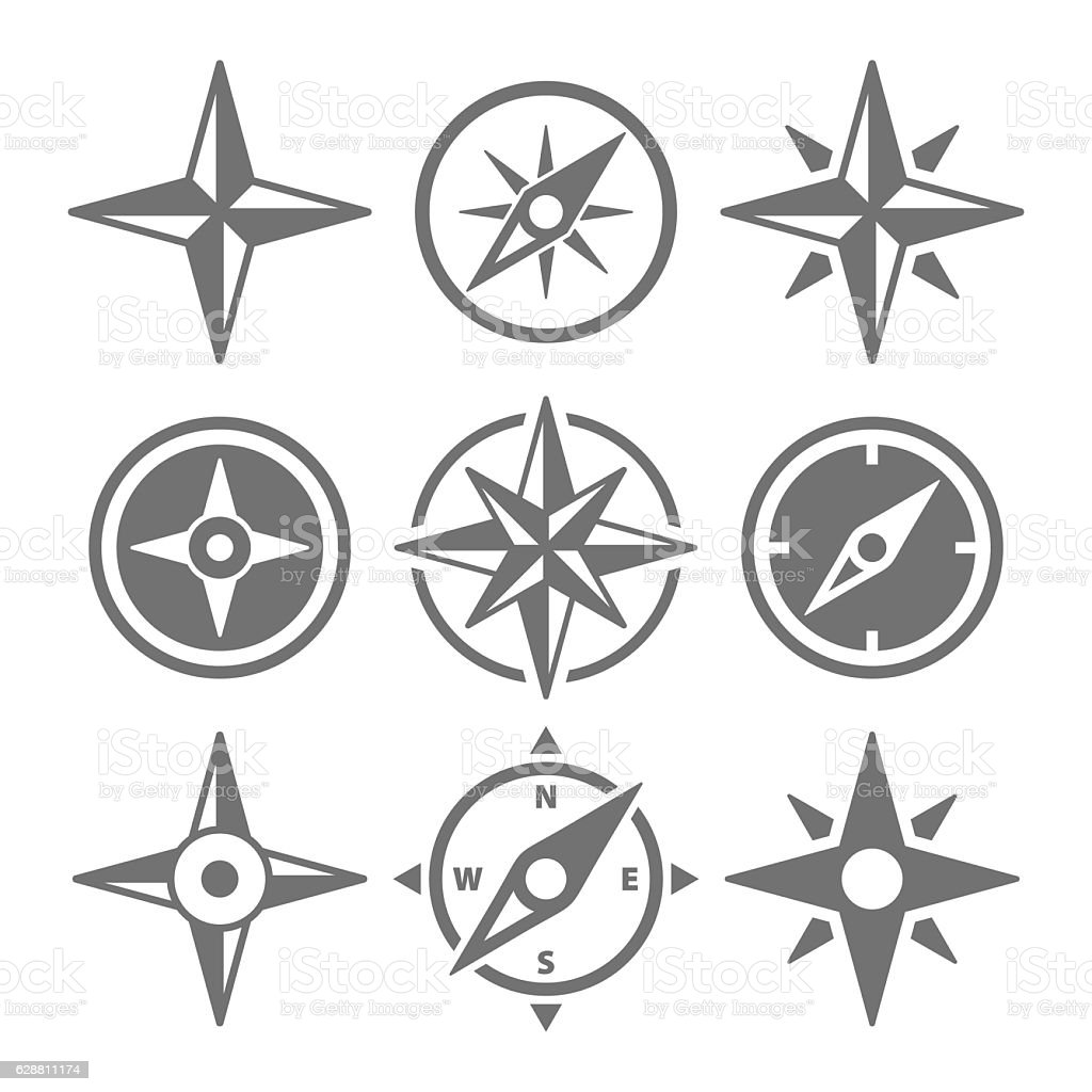 Wind Rose Compass Navigation Icons - Vector Illustration vector art illustration