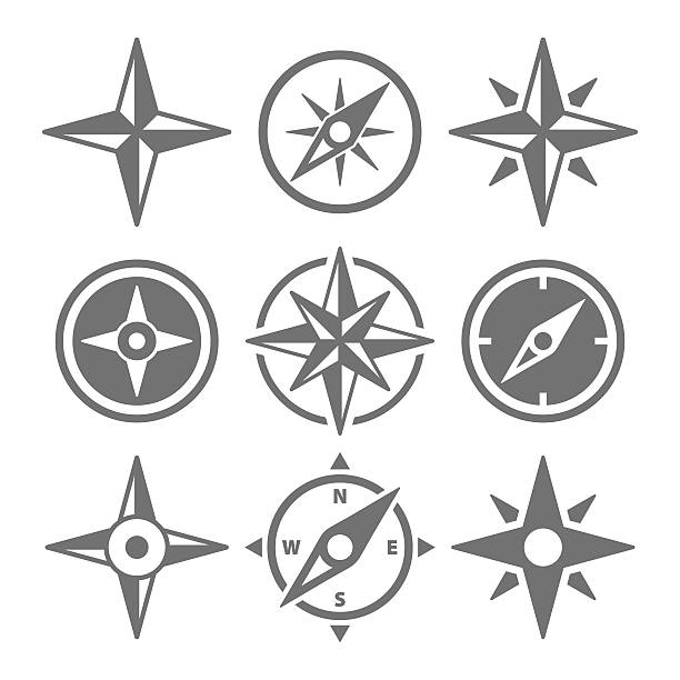 stockillustraties, clipart, cartoons en iconen met wind rose compass navigation icons - vector illustration - kompas