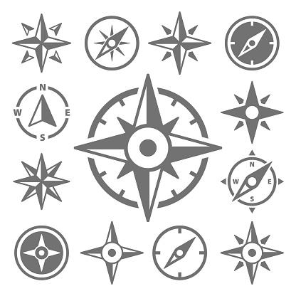 Wind Rose Compass Navigation Icons - Vector Illustration