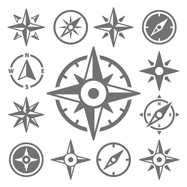 Wind Rose Compass Navigation Icons - Vector Illustration - Illustration vectorielle