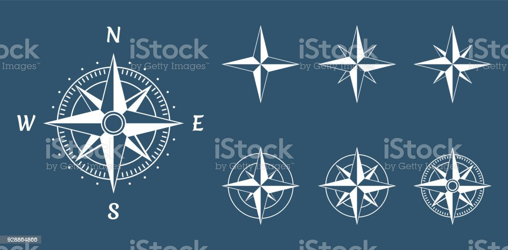 wind rose compass vector art illustration