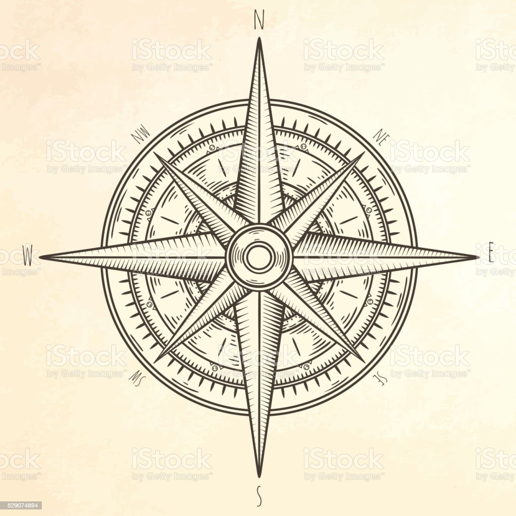 Wind rose hand drawn illustration. vector art illustration