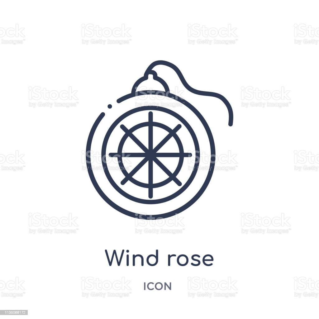 0bab4058f Wind Rose Icon From Nautical Outline Collection Thin Line Wind Rose ...