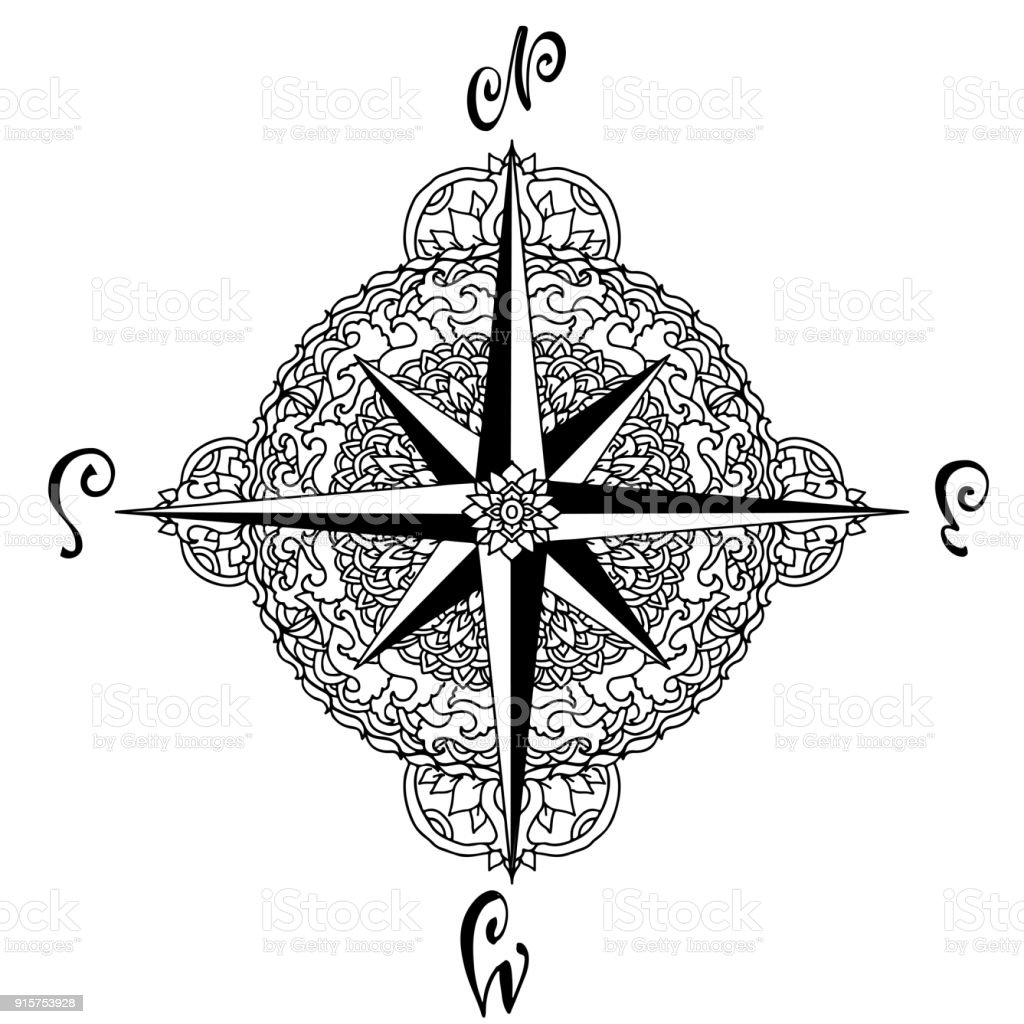 Nautical Compass Icon Isolated On White Background Asian Pattern