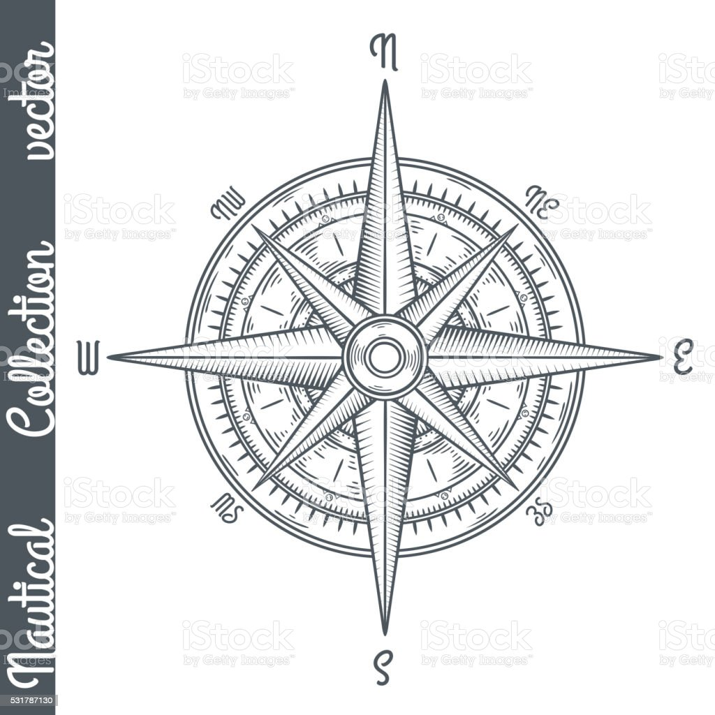 Wind rose isolated. vector art illustration