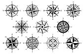 istock Wind rose. Marine wind roses, compass nautical navigation sailing symbols, geographic map antique vintage elements and tattoo vector icons 1186913279