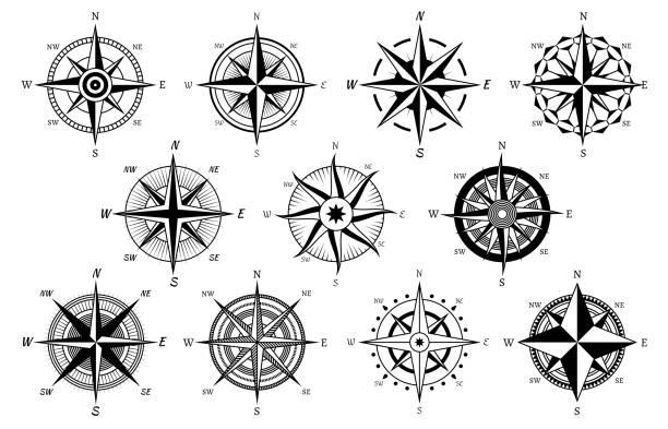 wiatr wzrósł. morskie róże wiatrowe, kompas żeglarskie symbole żeglarskie, mapa geograficzna antycznych elementów vintage i ikony wektora tatuażu - compass stock illustrations