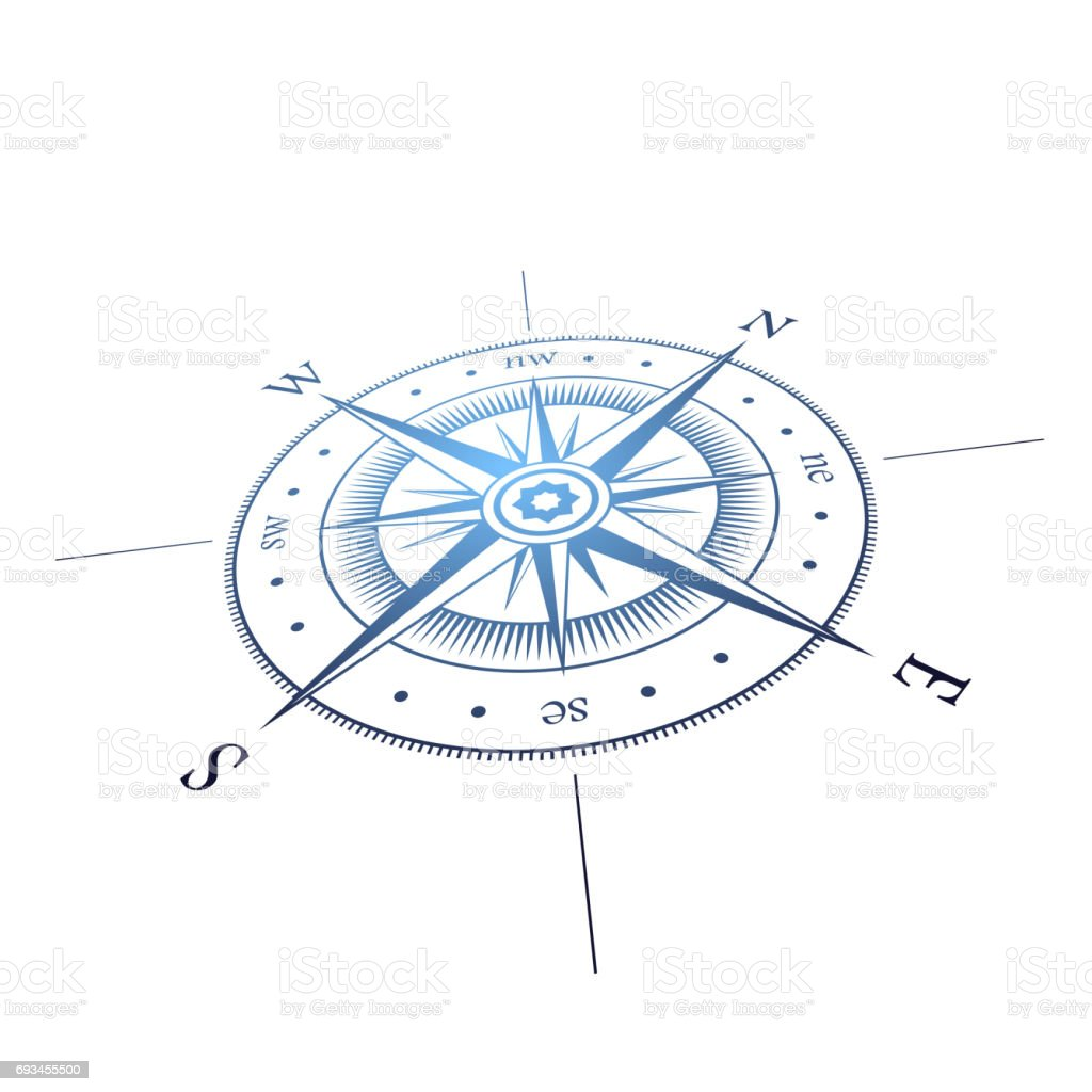Wind rose perspective vector art illustration