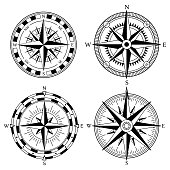 Wind rose retro design vector collection. Vintage nautical or marine wind rose and compass icons set, for travel, navigation design