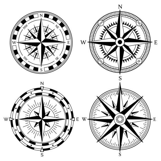 ilustrações de stock, clip art, desenhos animados e ícones de wind rose retro design vector collection. vintage nautical or marine wind rose and compass icons set, for travel, navigation design - compasso