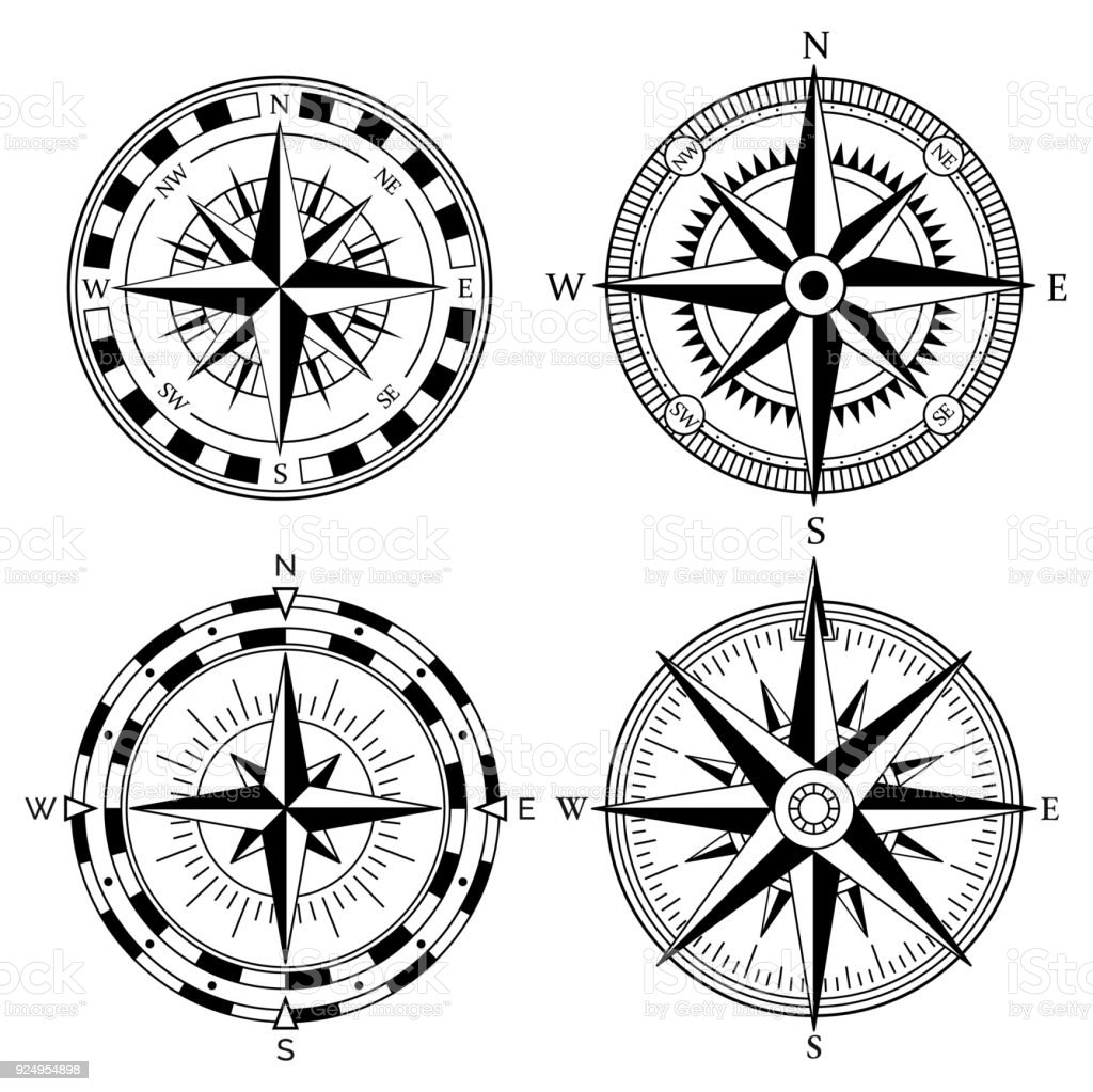 Wind rose retro design vector collection. Vintage nautical or marine wind rose and compass icons set, for travel, navigation design vector art illustration