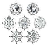 Vector set of nautical emblems. Wind rose, ship anchor and helm in retro style. Black and white outline drawings on the theme of travel, adventure and discovery. T-shirt and label graphics
