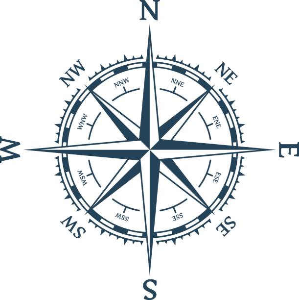 Wind rose vector. Wind rose vector illustration. Nautical compass icon isolated on white background. Design element for marine theme and heraldry. EPS 10. longitude stock illustrations