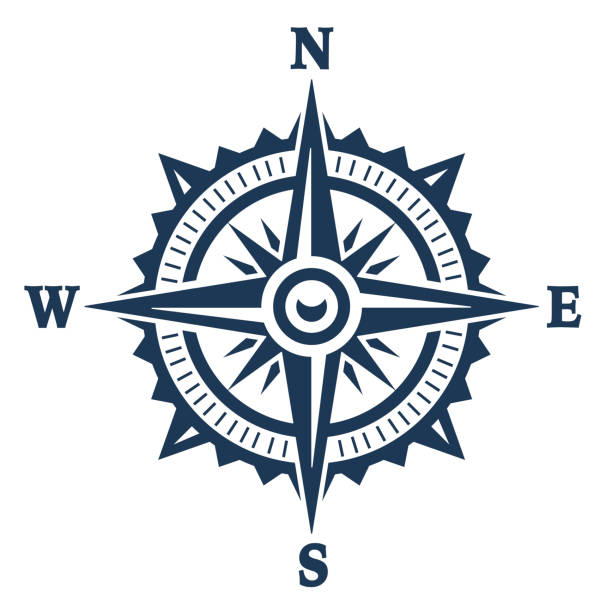 stockillustraties, clipart, cartoons en iconen met wind rose vector - noord