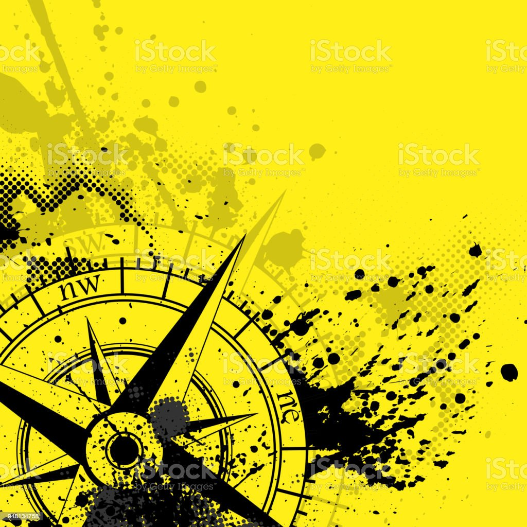Wind rose yellow background vector art illustration