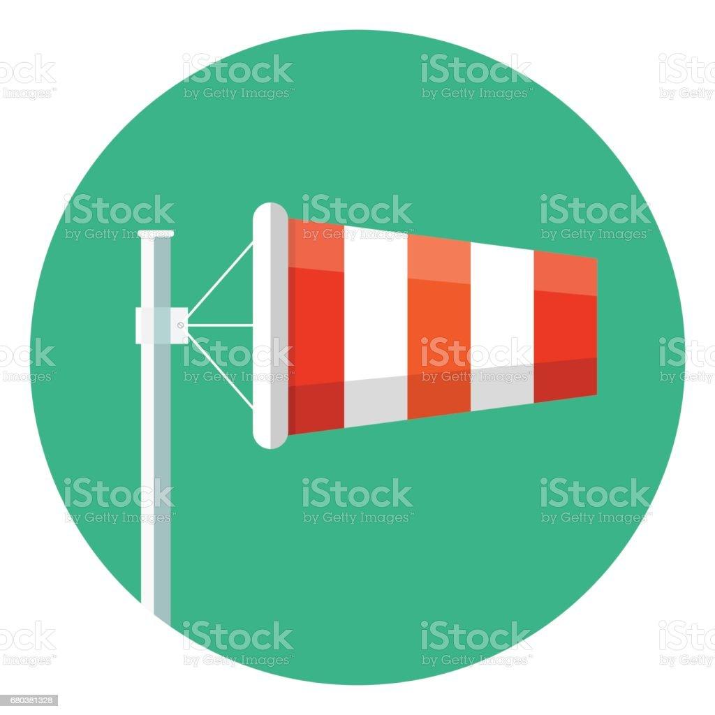 Vento Sock plana ícone Vector - ilustração de arte em vetor