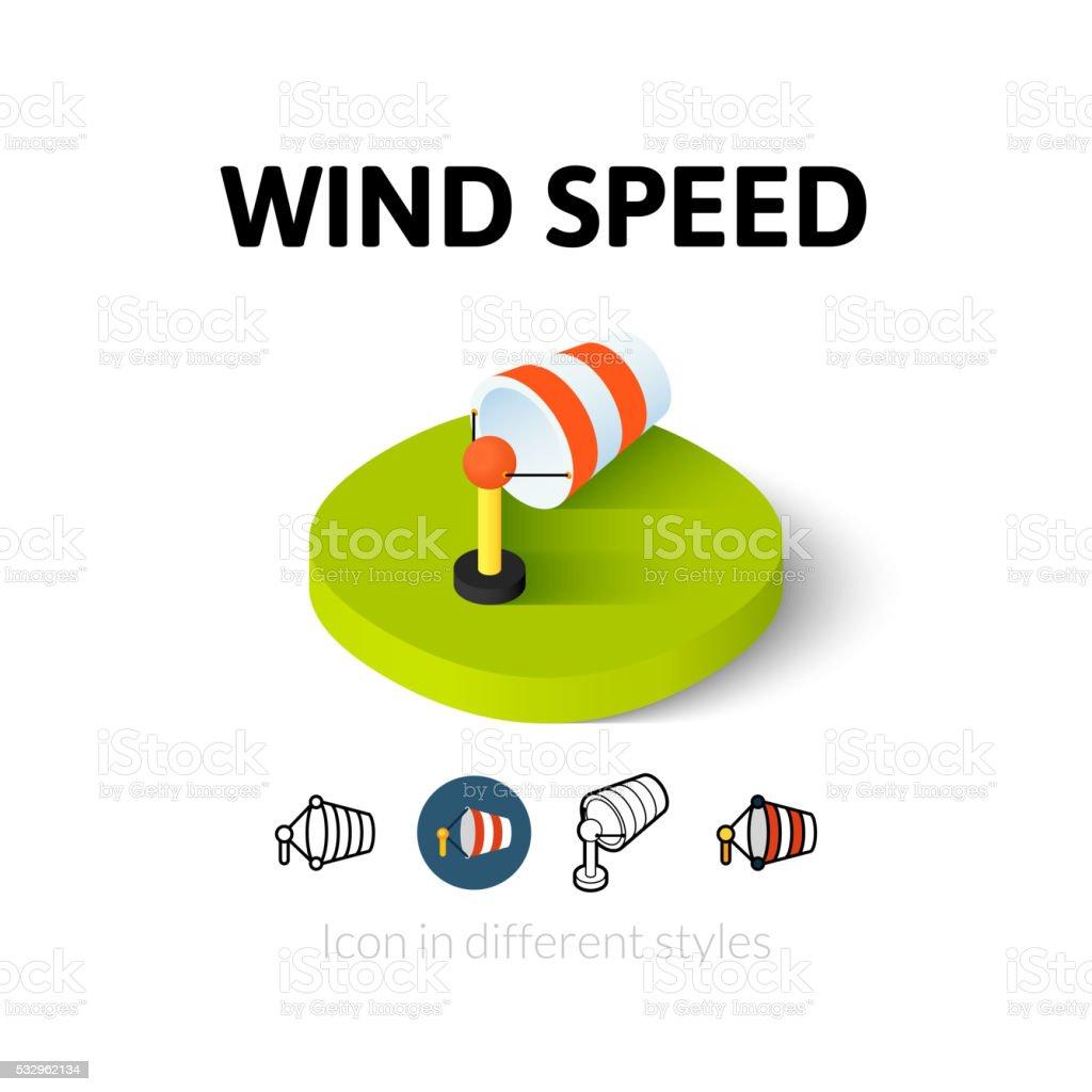 Vento ícone em estilo diferente de velocidade - ilustração de arte em vetor
