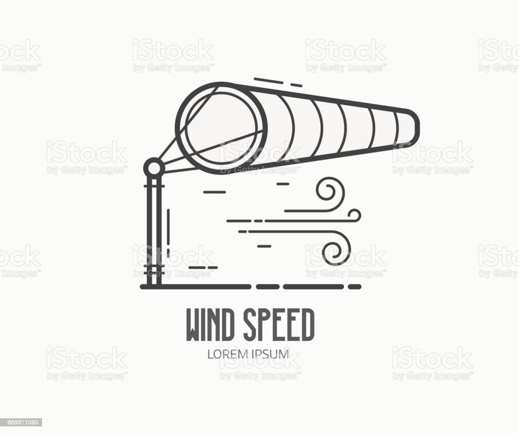 Logotipo de velocidade de vento com cata-vento - ilustração de arte em vetor