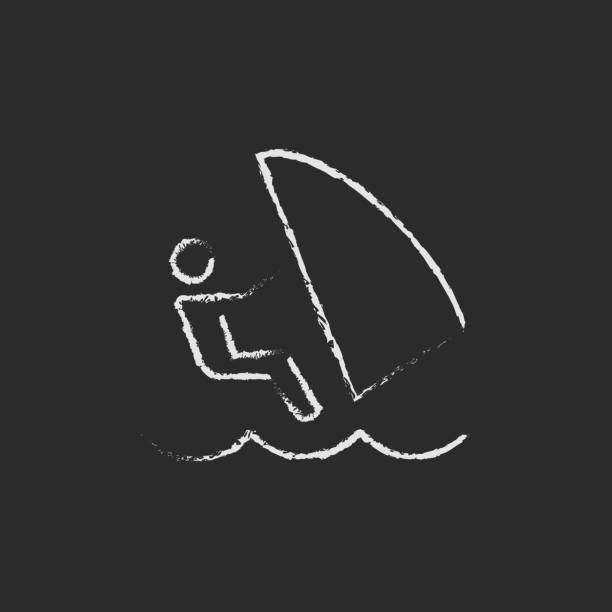 Wind surfing icon drawn in chalk vector art illustration