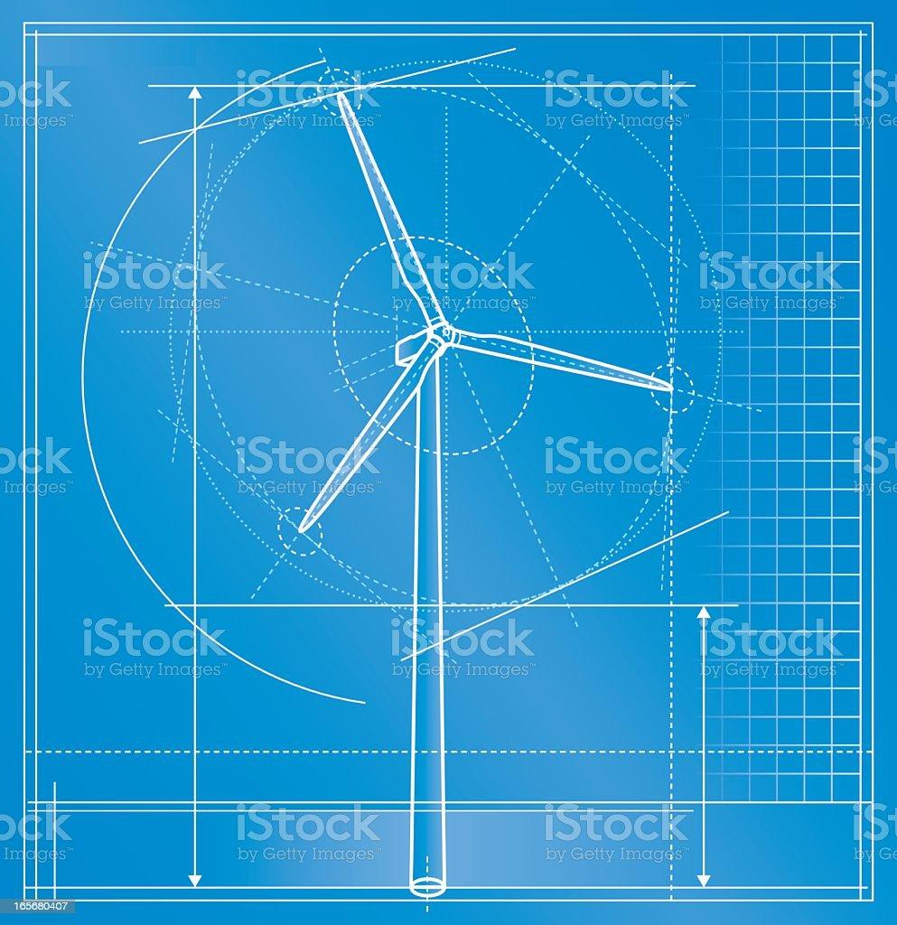 Windkraftanlage Technische Zeichnung – Vektorgrafik