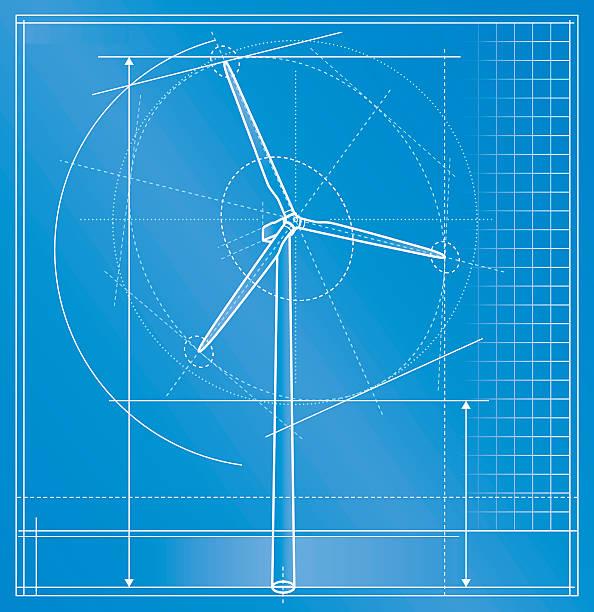 stockillustraties, clipart, cartoons en iconen met wind turbine blueprint - windmolen
