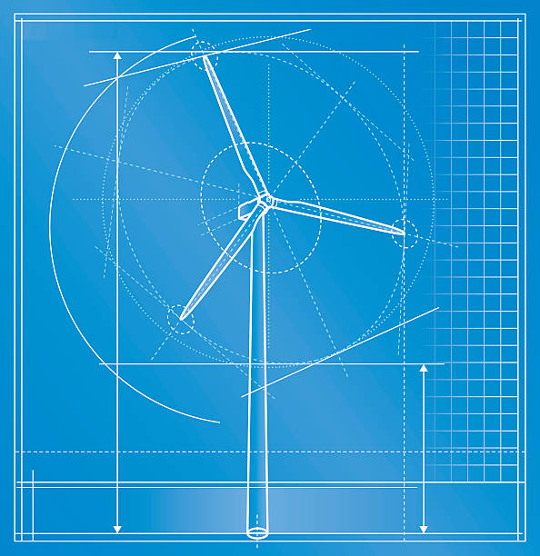 wind turbine blueprint - rüzgar değirmeni stock illustrations
