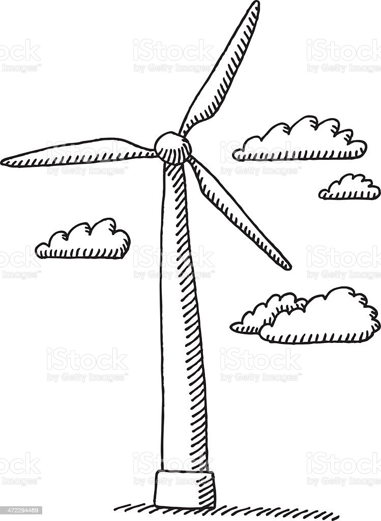 wind turbine clouds drawing stock vector art  u0026 more images