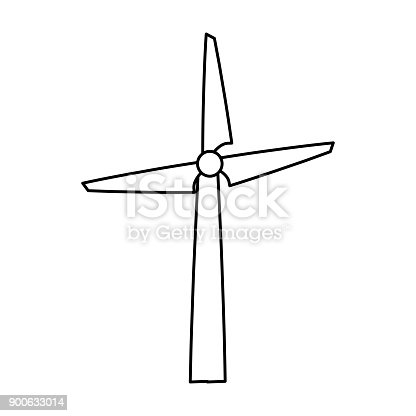 Wind turbine energy cartoon vector illustration graphic icon